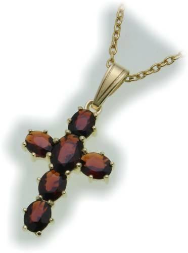 Kreuz m. Granat in Gold 333 Granatkreuz Anhänger Gelbgold Qualität Unisex 9909