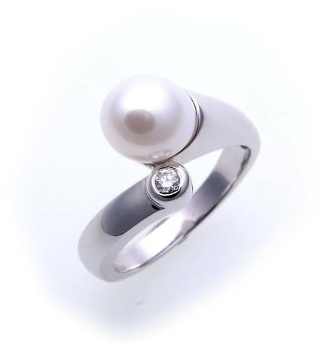 Damen Ring echt Weißgold 585 Perlen 8 mm Brillant 0,05ct. Diamant Gold er-