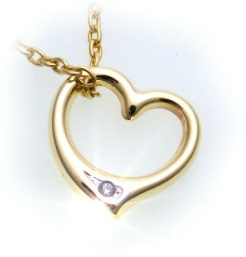 Anhänger Herz m Diamant 0,005 ct poliert 585 Gold 14kt Gelbgold Unisex Brillant