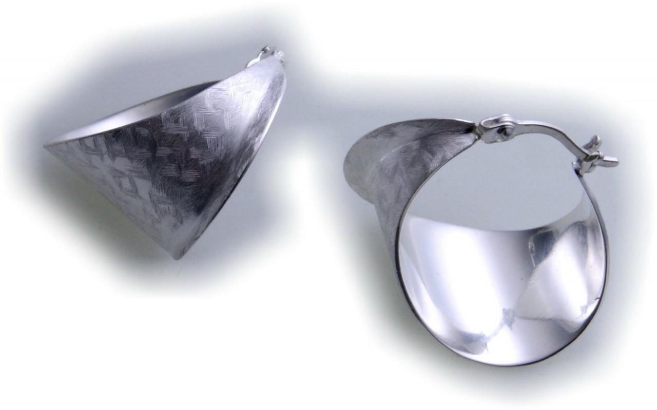edle Ohrringe Creolen gemustert echt Silber 925 Sterlingsilber Qualität