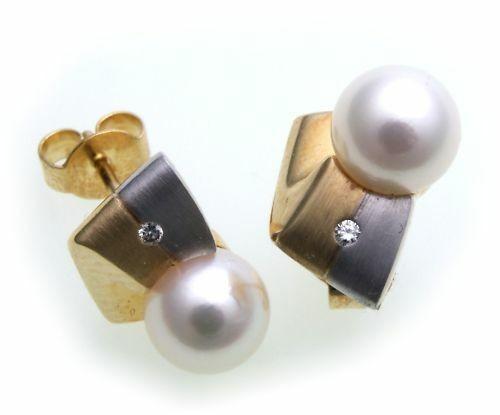 Damen Ohrringe Stecker Perlen 7 mm Brillant Gold 585 Gelbgold Diamant Ohrstecker