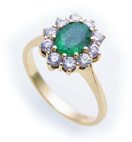 Damen Ring echt Smaragd 7 x 5 echt Gold 333 Zirkonia Gelbgold