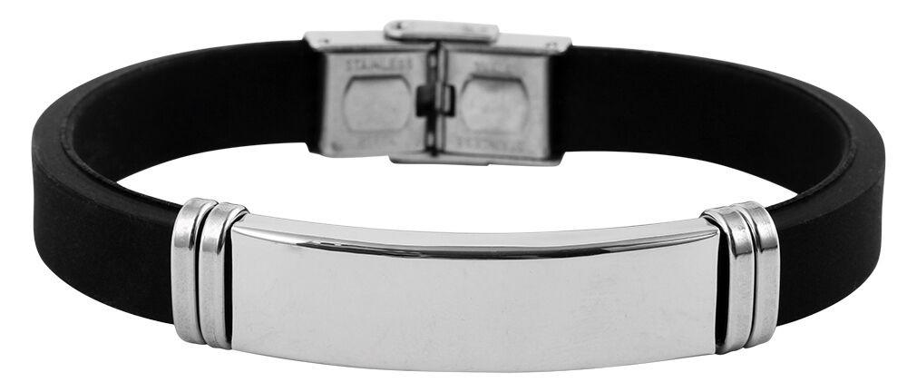 Herren Armband Edelstahl poliert Kautschuk schwarz inkl. Gravur verstellbar ID