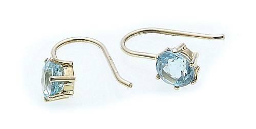 Damen Ohrringe Hänger Gold 585 mit Blautopas Gelbgold Qualität Ohrhänger