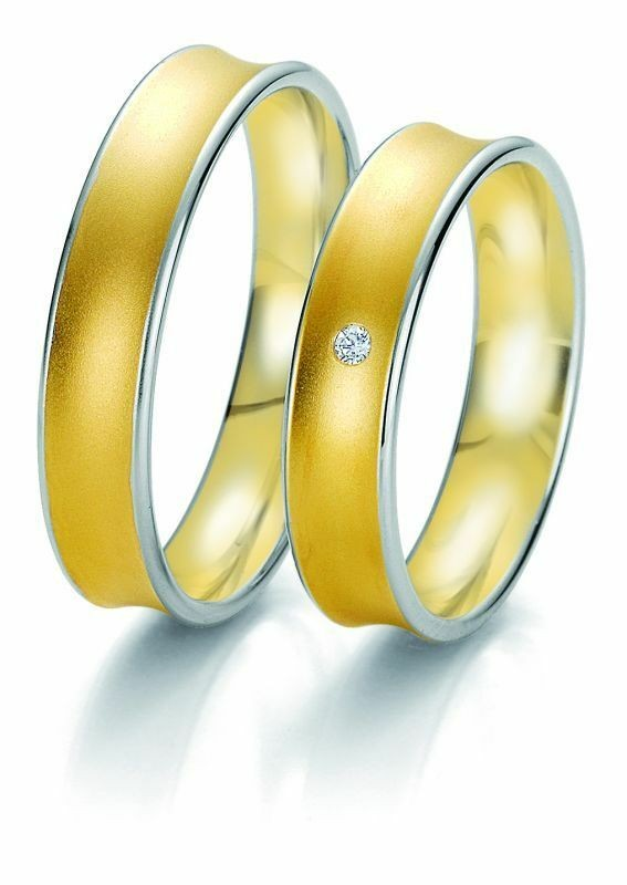 Trauringe Breuning Rainbow Collection 6239/6240 in 585 Gold weiß gelb 14 kt