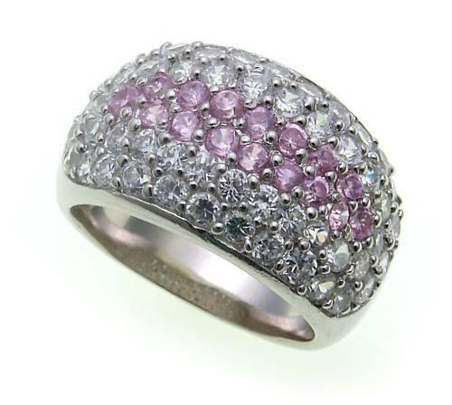 Damen Ring echt Silber 925 Zirkonia weiß pink massiv Sterlingsilber