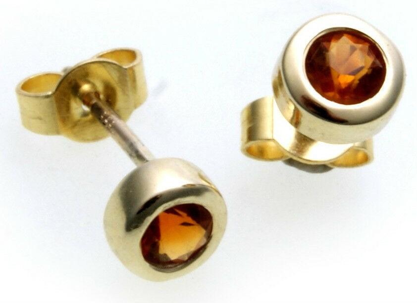 Damen Ohrringe Stecker Citrin echt Gold 750 Gelbgold Ohrstecker 18 karat gelb