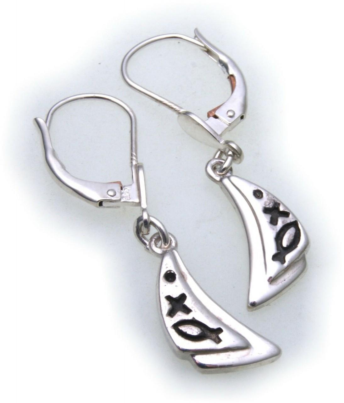 Damen Ohrringe Hänger echt Silber 925 Sterlingsilber verziert Ohrhänger günstig