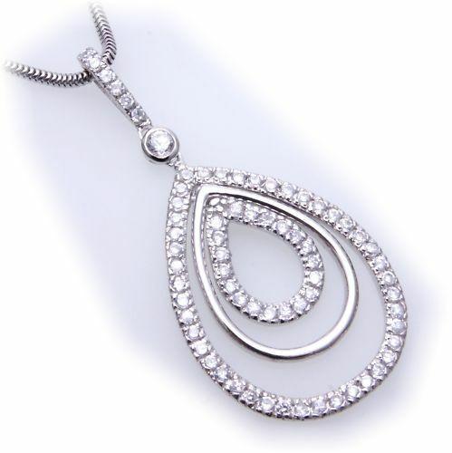 Anhänger echt Silber 925 Zirkonia beweglich Tropfenform Sterlingsilber