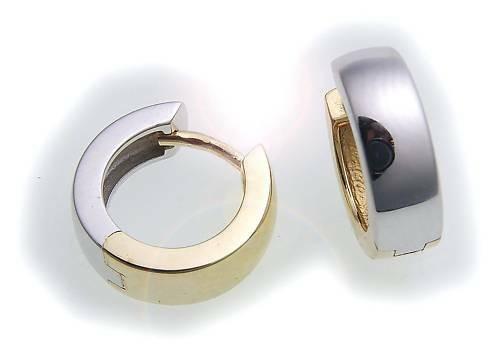 Herren Single Ohrring Klapp Creole Bicolor echt Gold 750 Glanz 11mm 18 karat Neu
