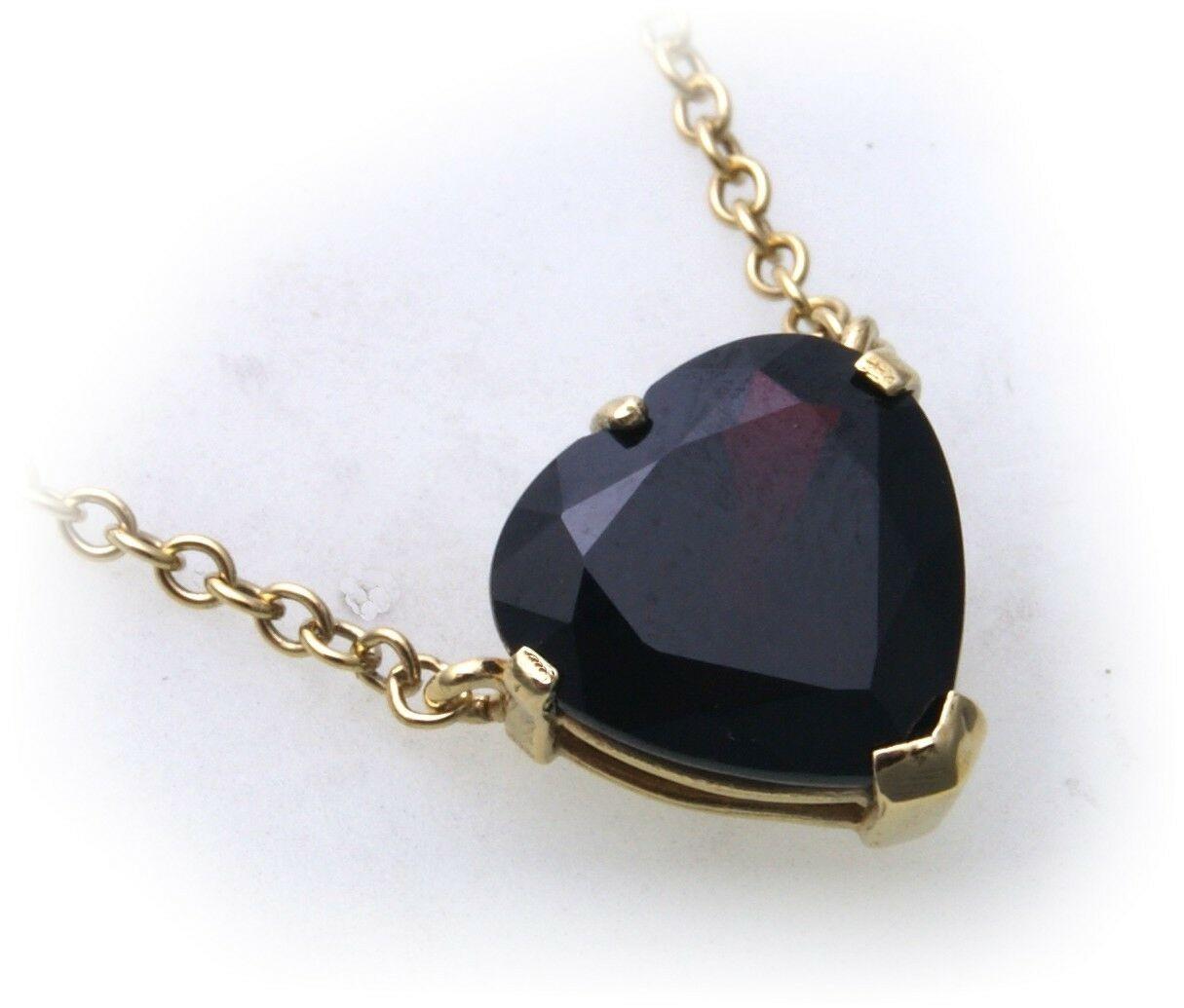 Collier Granat echt Gold 585 Herz Halsschmuck Gelbgold Halskette Damen 4149/5GR