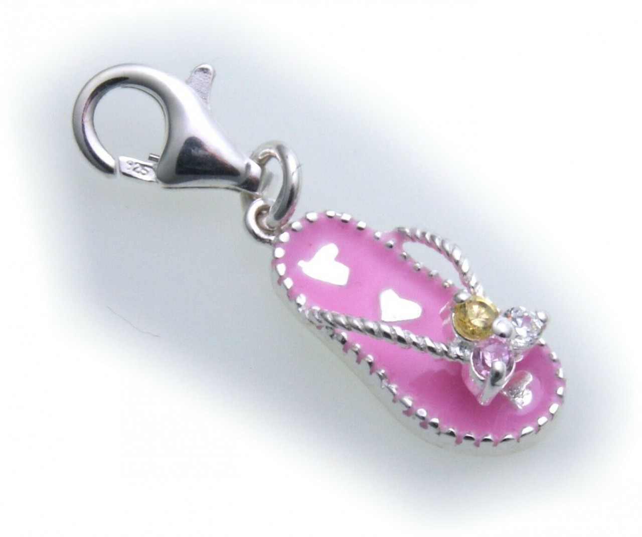 Charm Sandale pink Silber Zirkonia 925 Bettelarmband Zehensandale Sterlingsilber