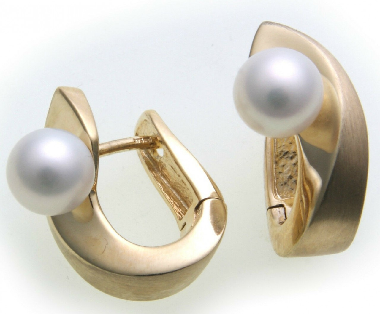 Damen Ohrringe Klapp Creolen echt Gold 333 mit Perlen 6,5 mm Gelbgold
