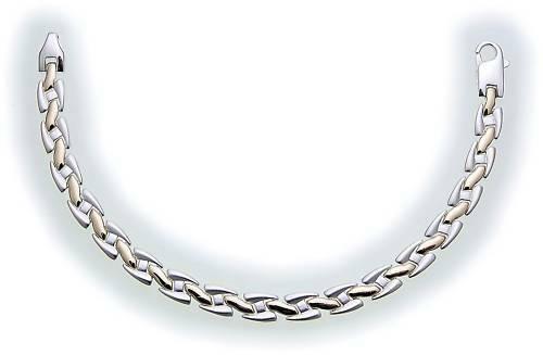 Damen Armband in Silber 925 bicolor massiv 19 cm teilmattiert Sterlingsilber