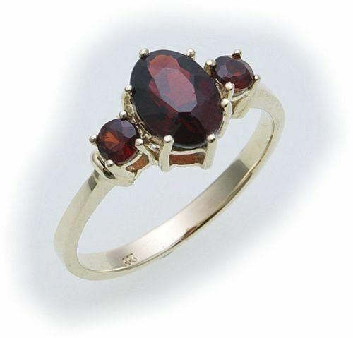 Damen Ring m. Granat in Gold 585 Gelbgold Granatring alle Weiten 8302/5GR