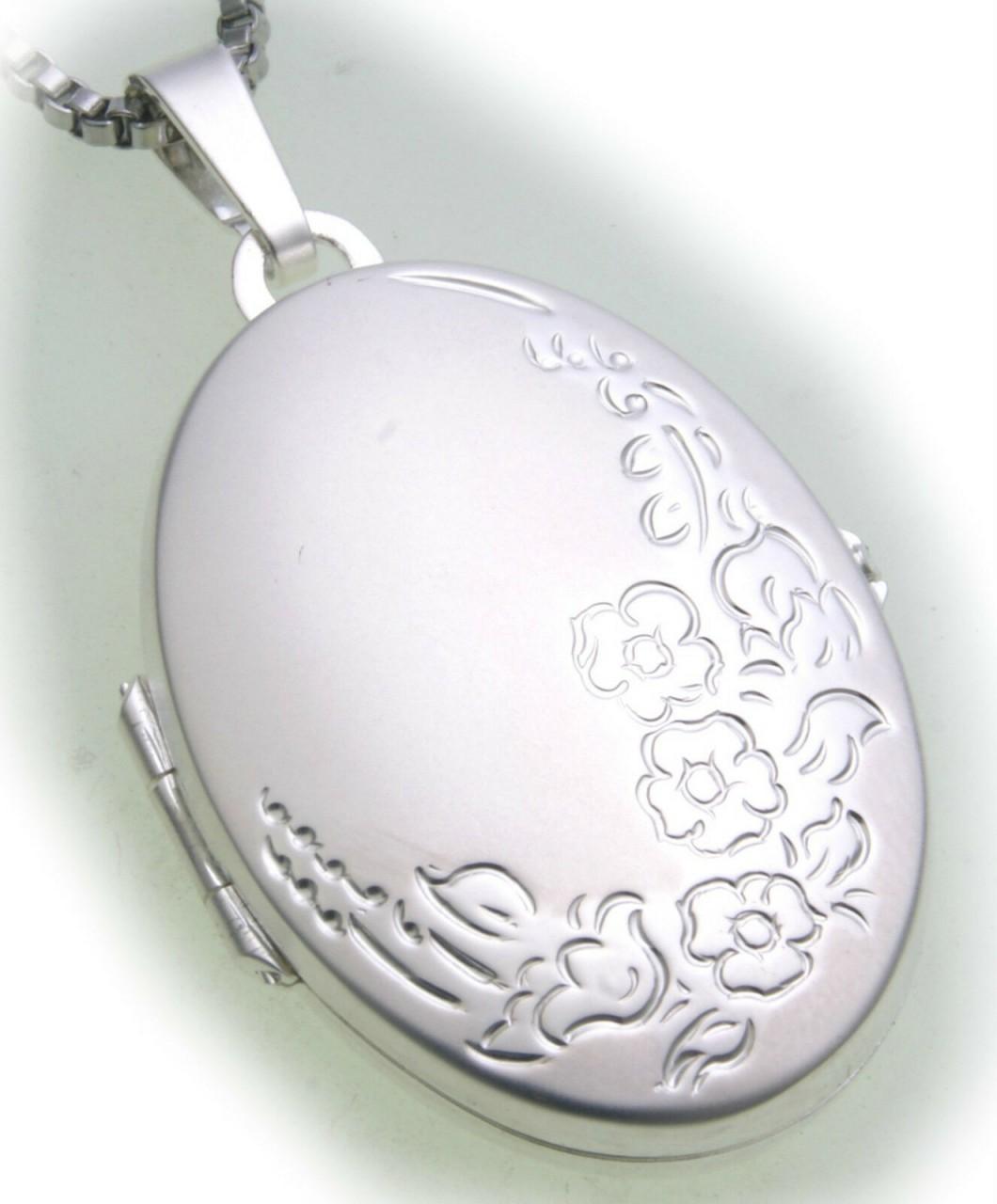 Damen Anhänger Medaillon echt Silber 925 teilmatt verziert Sterlingsilber ME3003