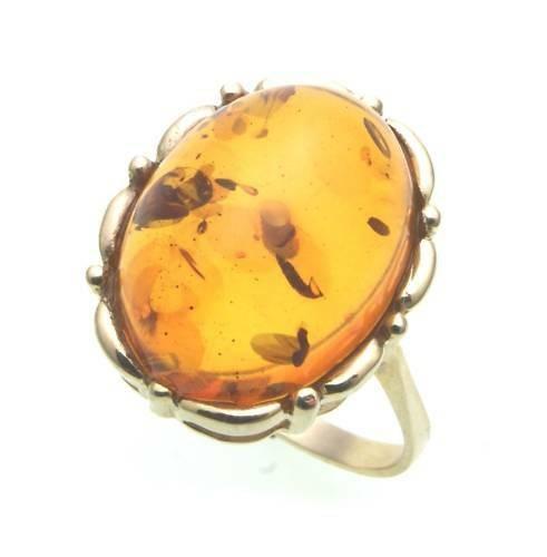 Damen Ring echter Bernstein aus de Ostsee echt Gold 333 Gelbgold 8k 8292/3BE
