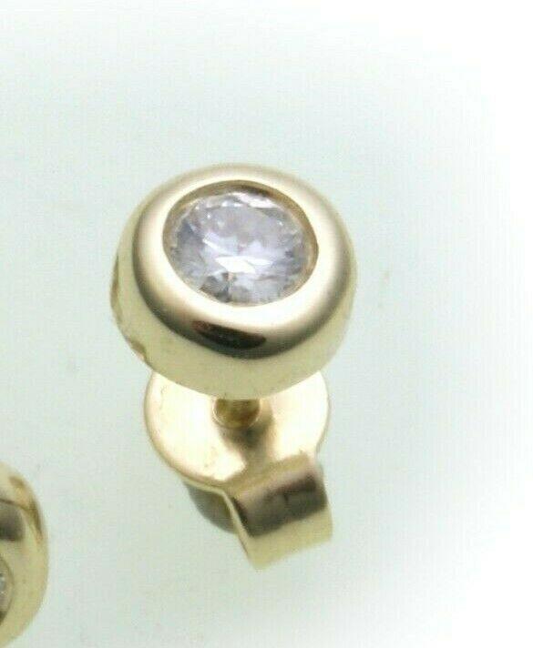 Herren Ohrringe Ohrstecker Gold 750 Brillant 0,10 ct Diamant Gelbgold 5 mm 14 kt