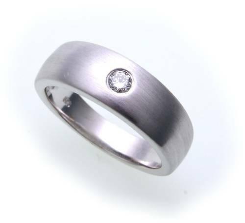 Damen Herren Ring Diamant 0,10ct echt Weißgold 585 14kt Weiß Gold SI Unisex