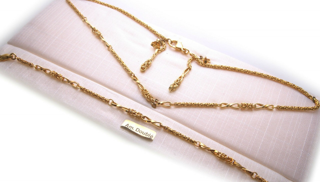 Set Halskette Armband und Ohrringe Double vergoldet 42 cm Neu Qualität