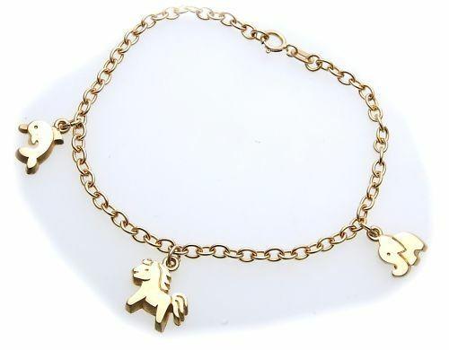 Armband für Kinder echt Gold 333 Delfin Pferd Elefant Qualität