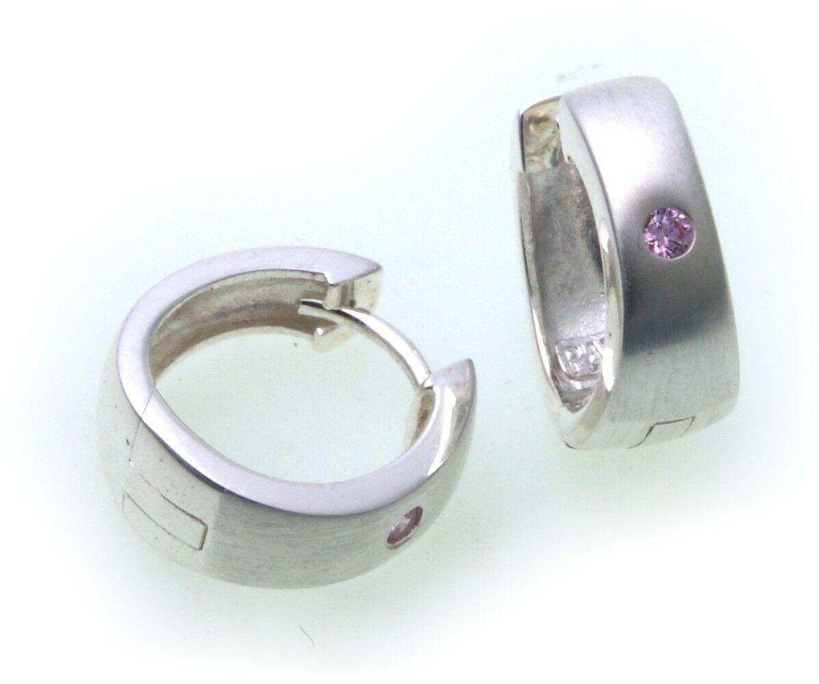 edle Ohrringe Klapp Creolen Zirkonia pink Silber 925 Qualität Sterlingsilber