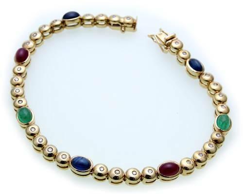 Neu Damen Armband Brillant 0,30 ct echt Gold 585 Rubin Smaragd Diamant Gelbgold