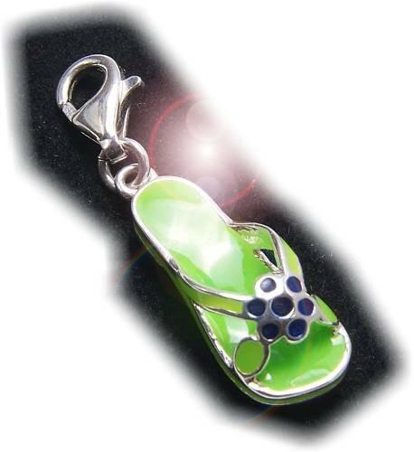 Charm Sandale grün Silber 925 Bettelarmband Zehensandale Sterlingsilber Qualität