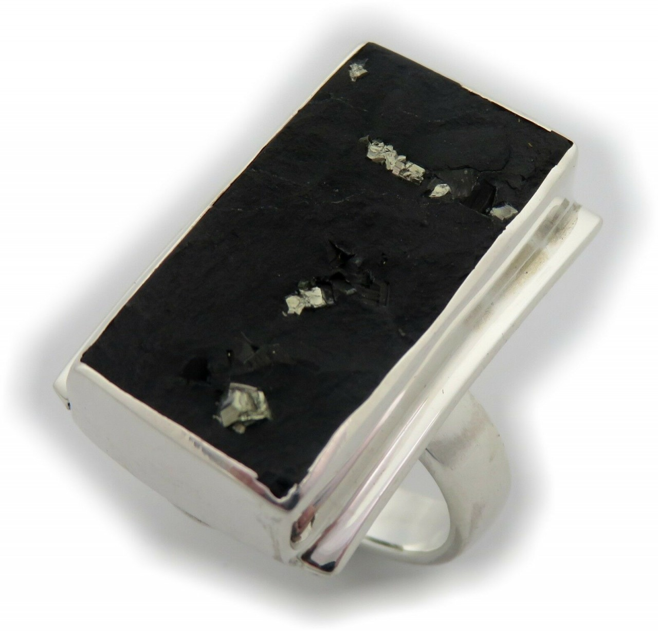 Neu Ring XL Schiefer Pyrit Silber 925 Sterlingsilber Unikat Einzelstück schwarz