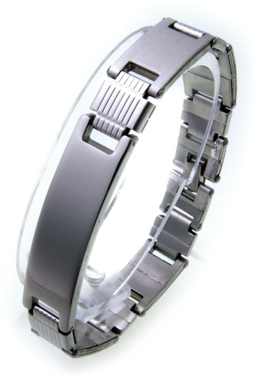 Herren Armband inkl. Gravur Edelstahl mattiert poliert 21 cm ID Band