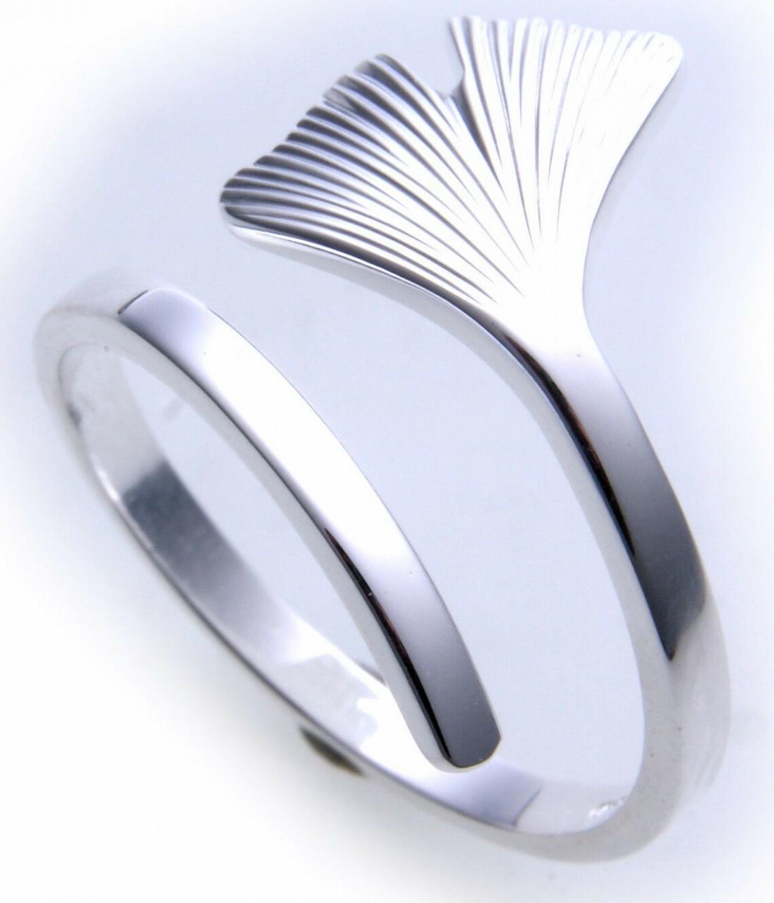 Ring Ginkoblatt Ginkgo echt Silber 925 Ginkgoblatt Ginko Sterlingsilber Unisex