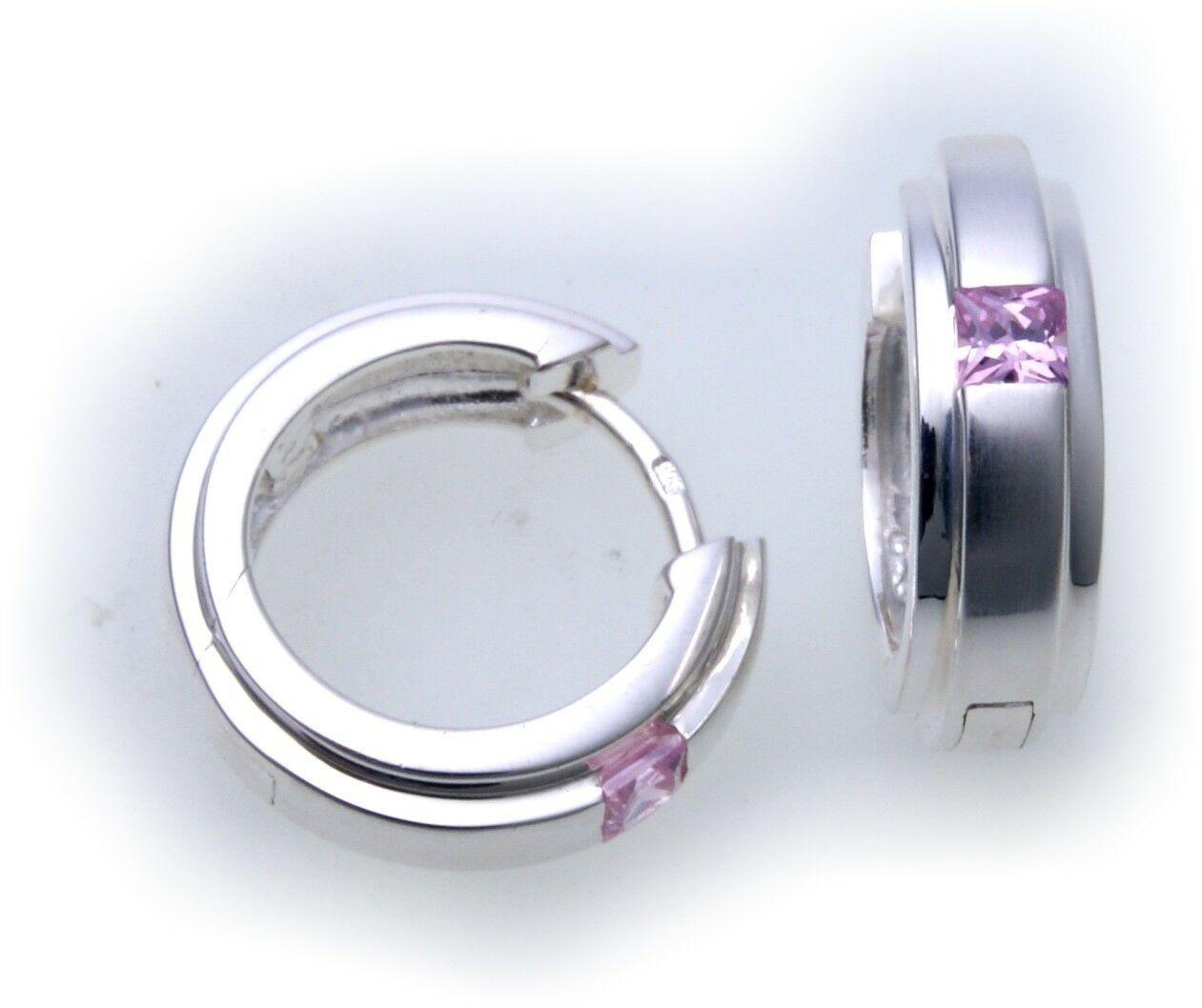 edle Ohrringe Klapp Creolen Zirkonia pink echt Silber 925 Sterlingsilber
