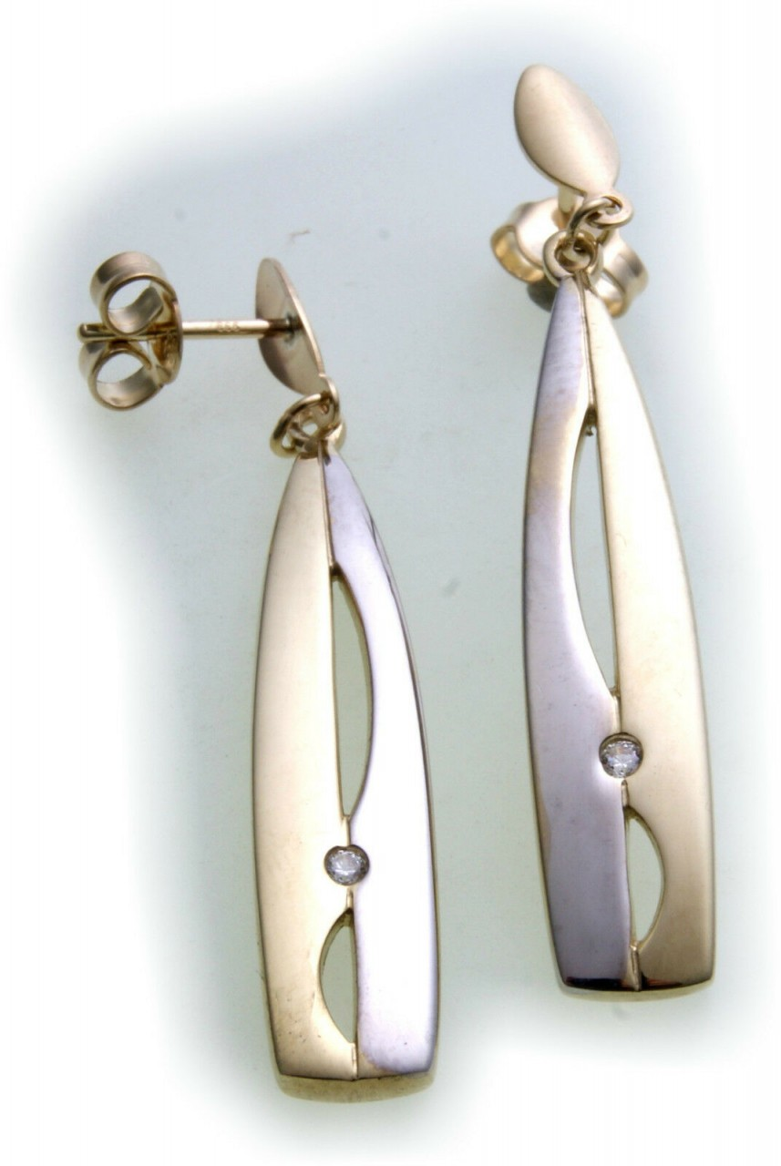 Damen Ohrringe Hänger echt Gold 333 Zirkonia Bicolor Ohrhänger Gelbgold Neu