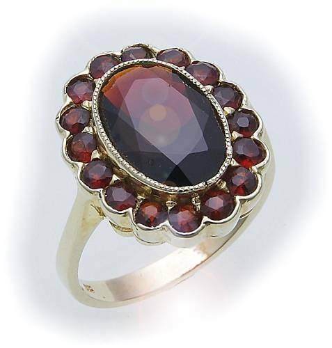 Damen Ring m. Granat in Gold 585 Gelbgold Granatring alle Weiten 8909/5GR
