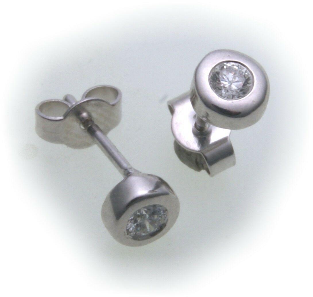 Damen Ohrringe Ohrstecker Weißgold 750 Diamant 0,10ct 5 mm Gold 18 karat