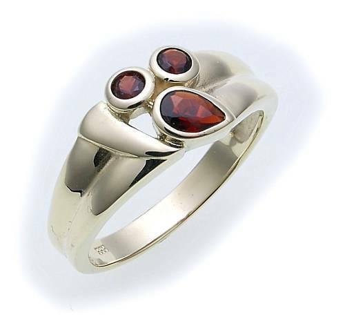 Damen Ring m. Granat in Silber 925 Granatring Sterlingsilber Qualität Neu Top