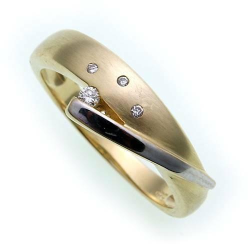 Damen Ring Brillant 0,04ct SI echt Gold 585 Bicolor Gelbgold Qualität