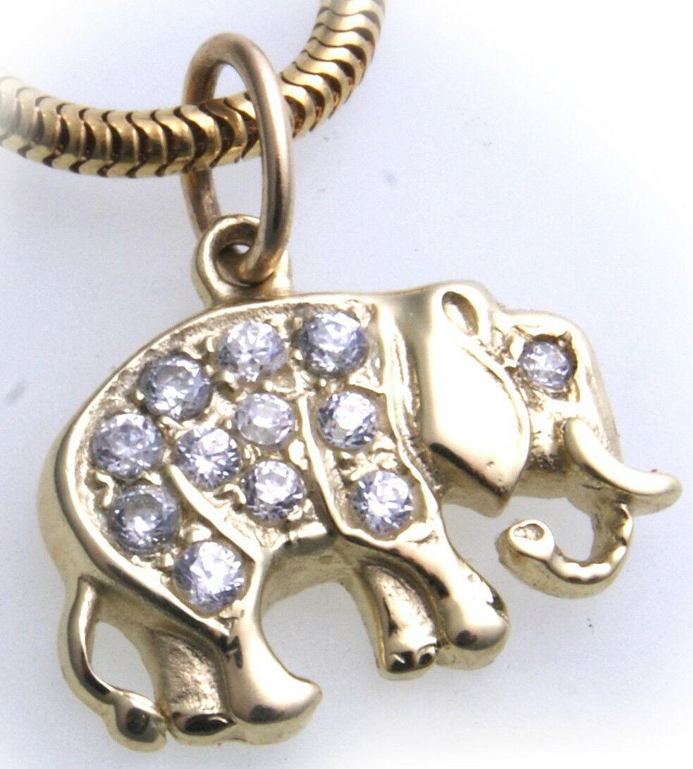 Anhänger echt Gold 333 Elefant mit Zirkonia gefasst Gelbgold Unisex Qualität er-