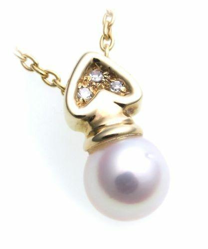 Anhänger Zuchtperle Brillant 0,03 echt Gold 585 Perle Gelbgold Damen Diamant