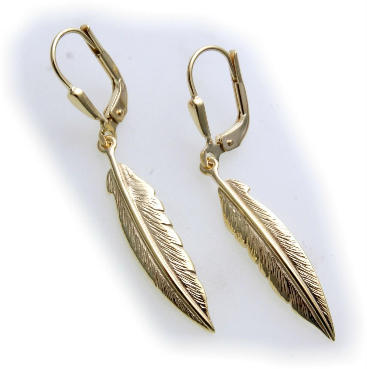 Damen Ohrringe Hänger Federn echt Gold 333 Indianer Feder Ohrhänger 8kt Gelbgold