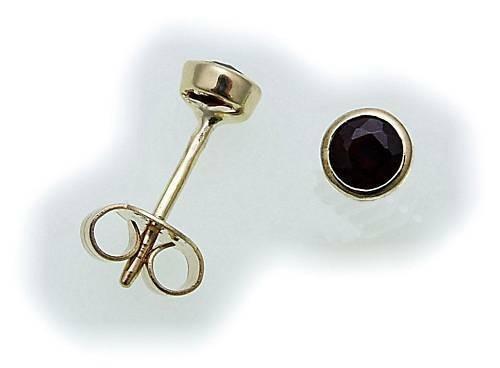 Damen Ohrringe Granat echt Gold 333 Gelbgold Ohrstecker 6526/3GR Stecker