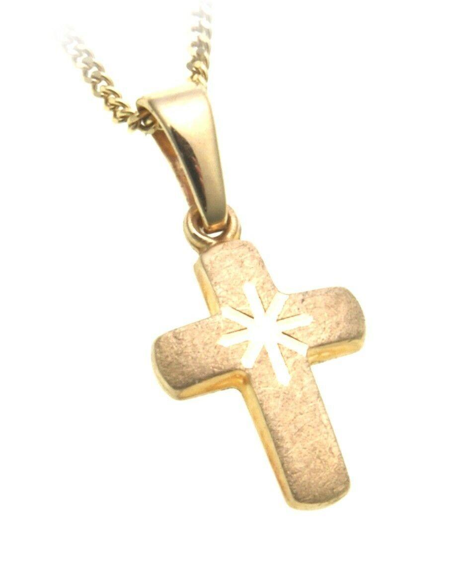 Anhänger Kreuz echt Gold 333 matt 20 mm 8kt Gelbgold Unisex diamantiert