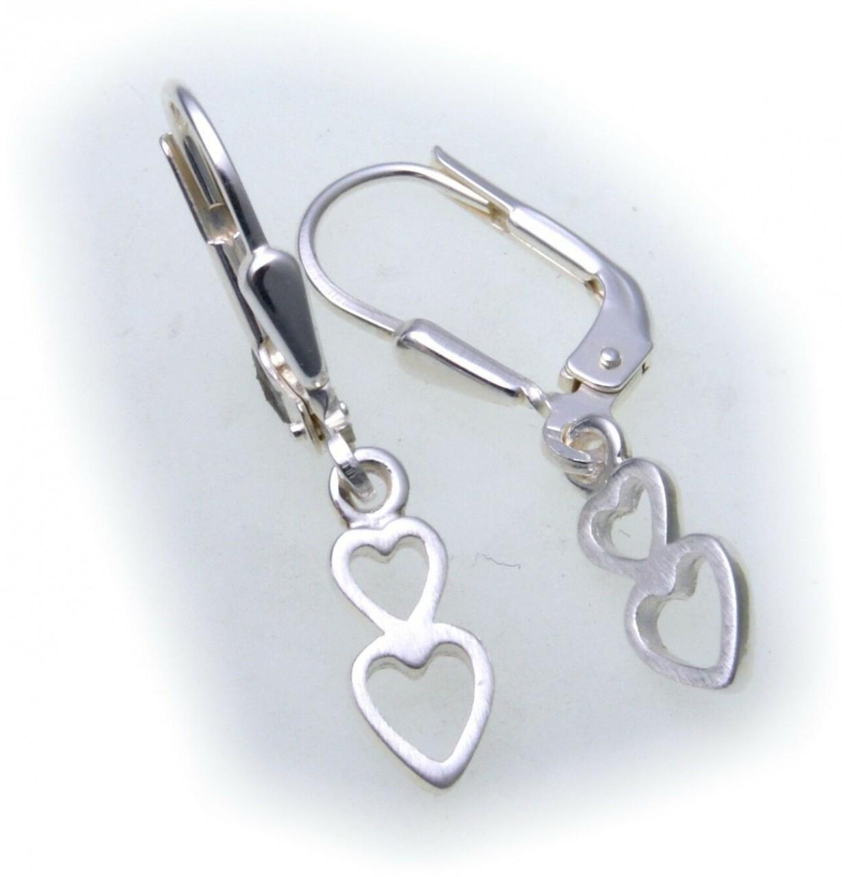 Damen Ohrringe Hänger Herz echt Silber 925 Sterlingsilber Ohrhänger 2 Herzen