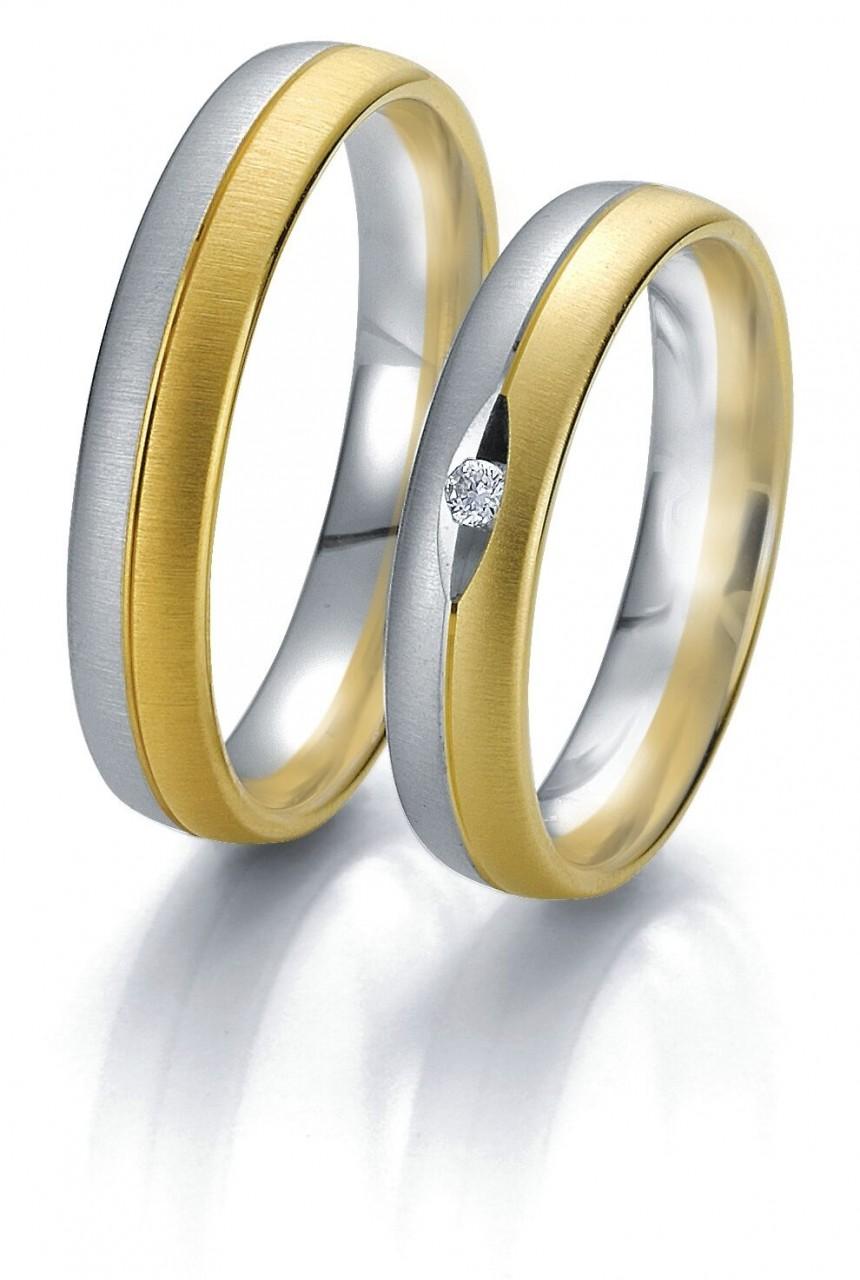 Trauringe Breuning Rainbow Collection 6231/6232 in 585 Gold weiß gelb 14 kt