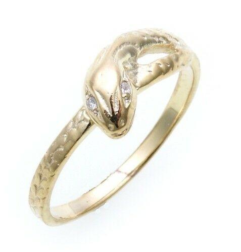 Schlangenring echt Gold 585 mit Zirkonia Ring Schlange Gelbgold Unisex