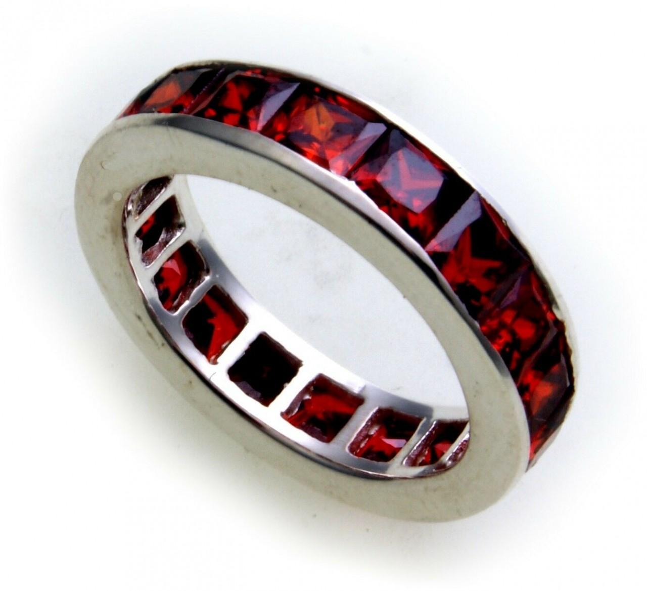 Damen Ring rot echt Silber 925 Zirkonia ganzum Sterlingsilber Qualität