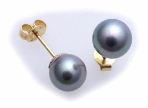 Ohrringe echt Akoya Perlen 8,5mm echt Gold 585 Perle Damen Gelbgold