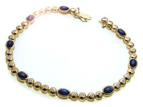 Neu Damen Armband Brillant 0,32 ct echt Saphir Gold 585 Diamant Gelbgold Tennis