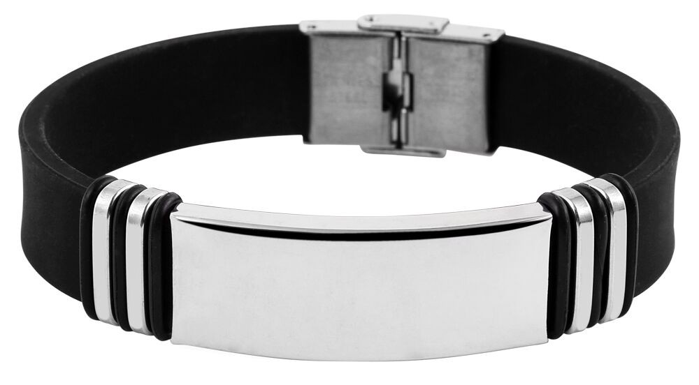Herren Armband Edelstahl poliert Kautschuk schwarz inkl. Gravur verstellbar Neu