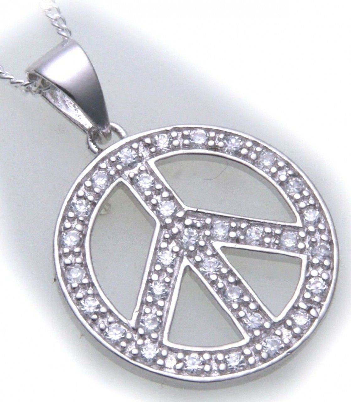 Anhänger Peace Zeichen mit Zirkonia echt Silber 925 Qualität Sterlingsilber Neu